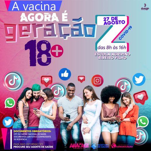 Araçagi irá iniciar vacinação contra a COVID-19 para pessoas com 18 anos ou mais já na próxima sexta dia 27